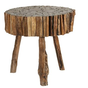 Round Cut Teak Wood End Table by Ibolili