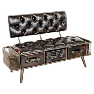 Review Ames Faux Leather Storage Bench