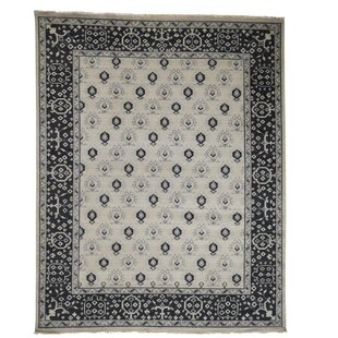 One-of-a-Kind Oritz Knot Boteh Cropped Oriental Hand-Knotted Area Rug By One Allium Way