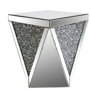 House of Hampton Bacon Square Mirrored Top End Table