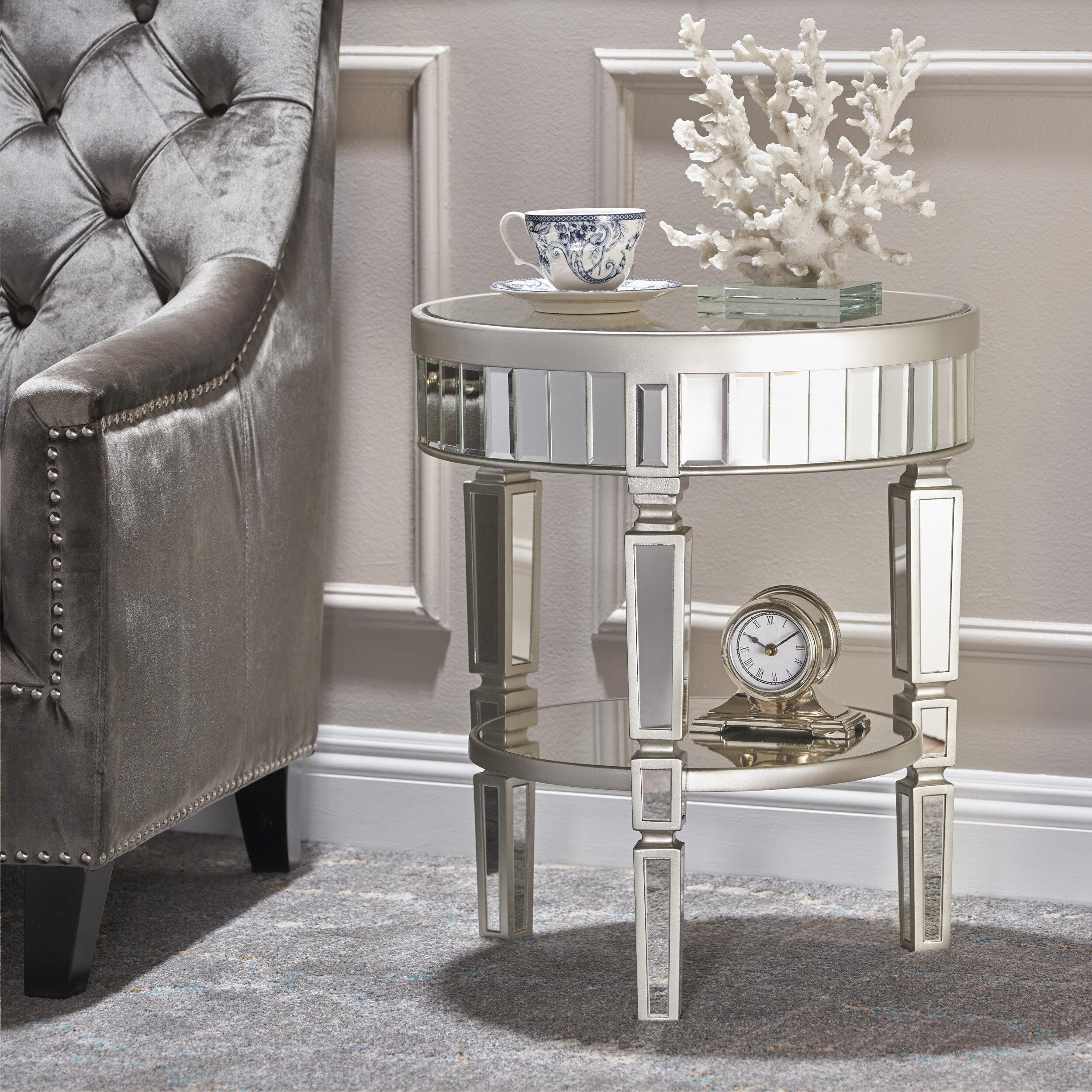 House Of Hampton Lemmon Mirrored End Table U0026 Reviews | Wayfair