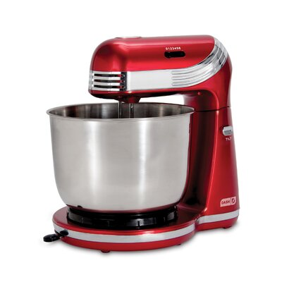 DASH Dash Everyday 6 Speed 2.5 Qt. Stand Mixer  Color: Red