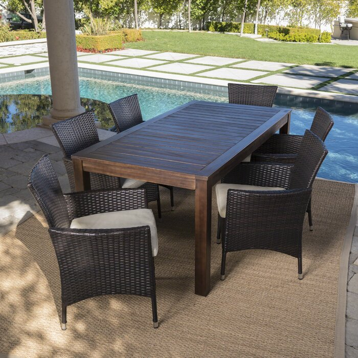 Appel Outdoor 7 Piece Dining Set with Cushions