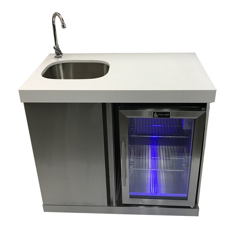 Outdoor Wet Bar: Mont Alpi Outdoor Bar Center With Sink And Fridge