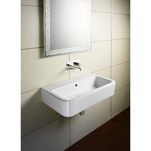 GSI Collection Traccia Ceramic Rectangular Vessel Bathroom Sink with Overflow