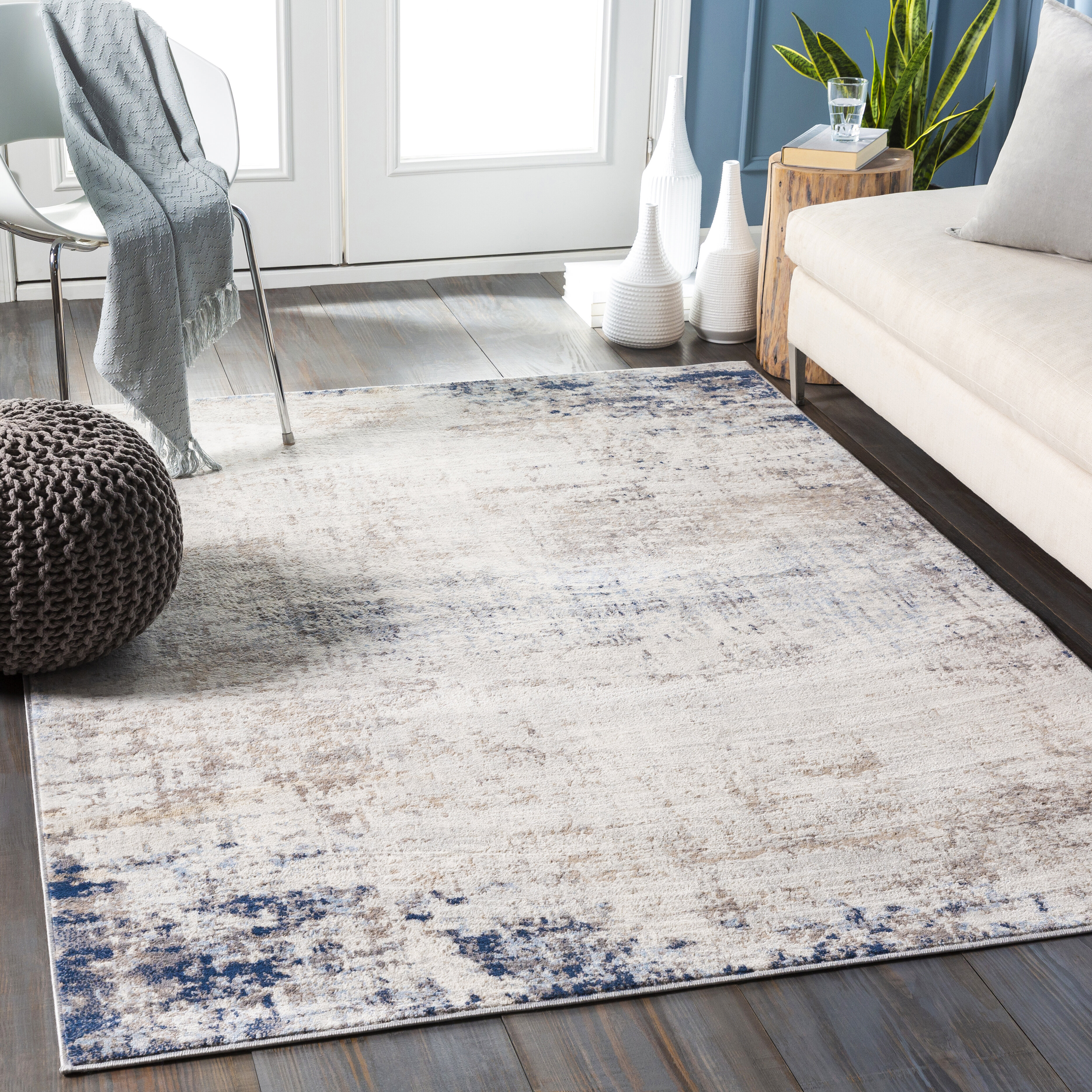 17 Stories Adeliza Blue Ivory Area Rug Reviews Wayfair