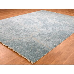 Deals One-of-a-Kind Jennie Hi-Low Pile Hand-Knotted 9'2 x 12'1 Wool/Silk Gray/White Area Rug By Isabelline