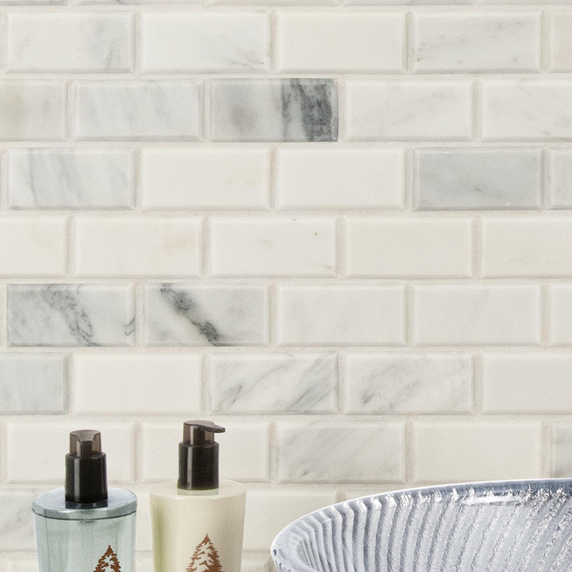 Arabescato Carrara 2 X 4 Beveled Marble Brick Joint Mosaic Wall And Floor Tile Reviews