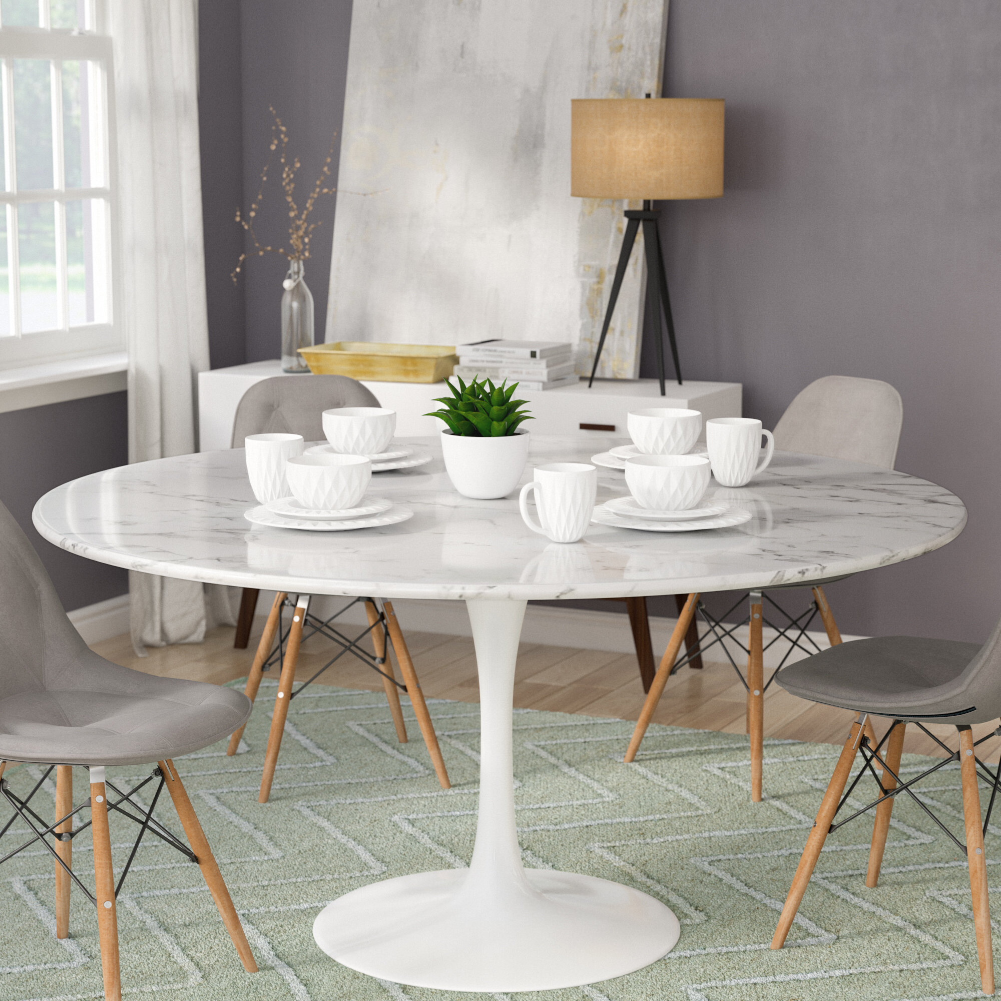Langley Street Julien Artificial Marble Round Dining Table Reviews Wayfair