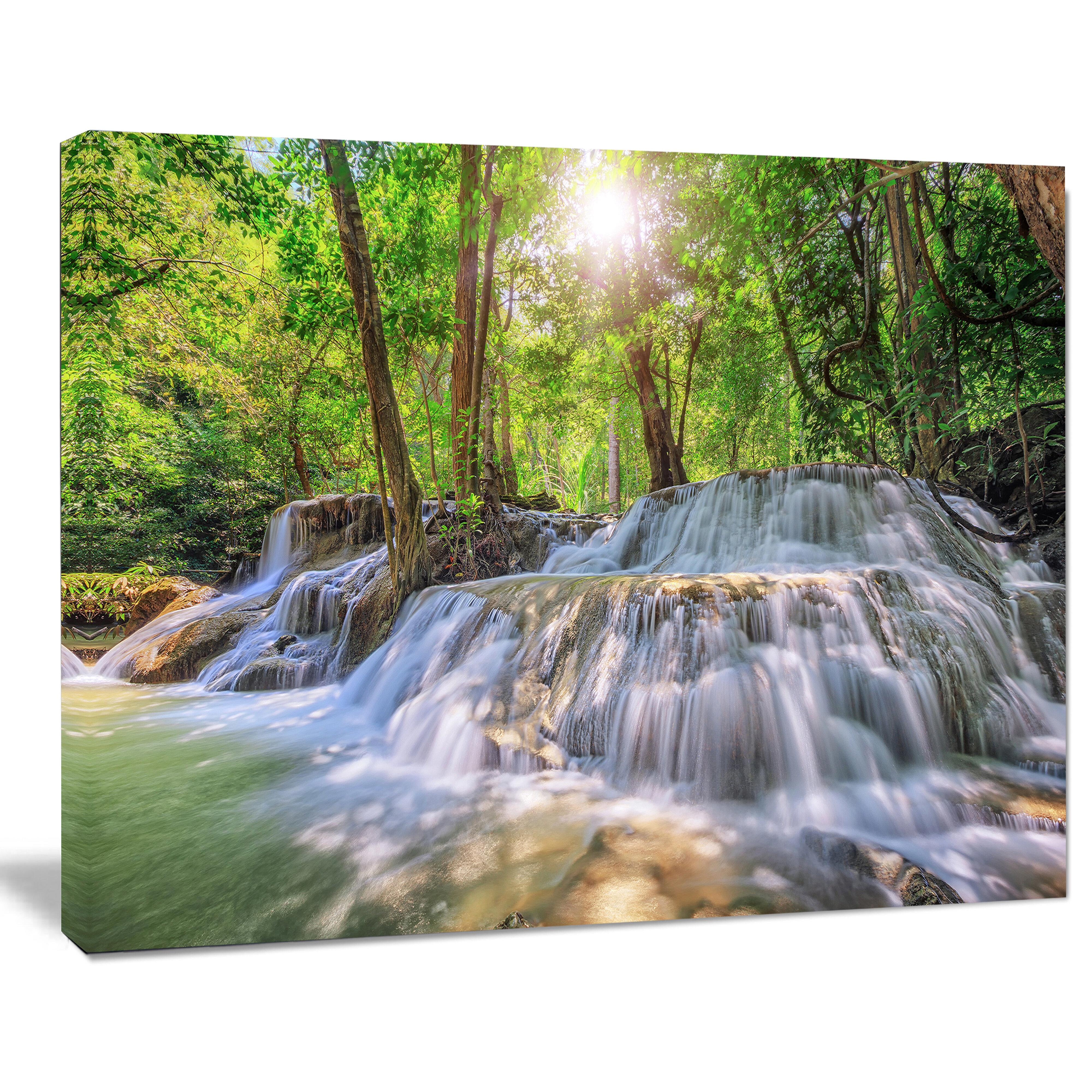 Designart Kanchanaburi Waterfall Photographic Print On Wrapped Canvas Wayfair