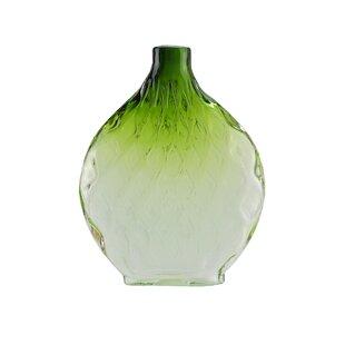 Disc Shaped Ombré Hand Blown Glass Vase