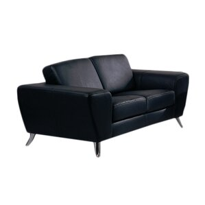 alonso leather loveseat - Black Leather Loveseat