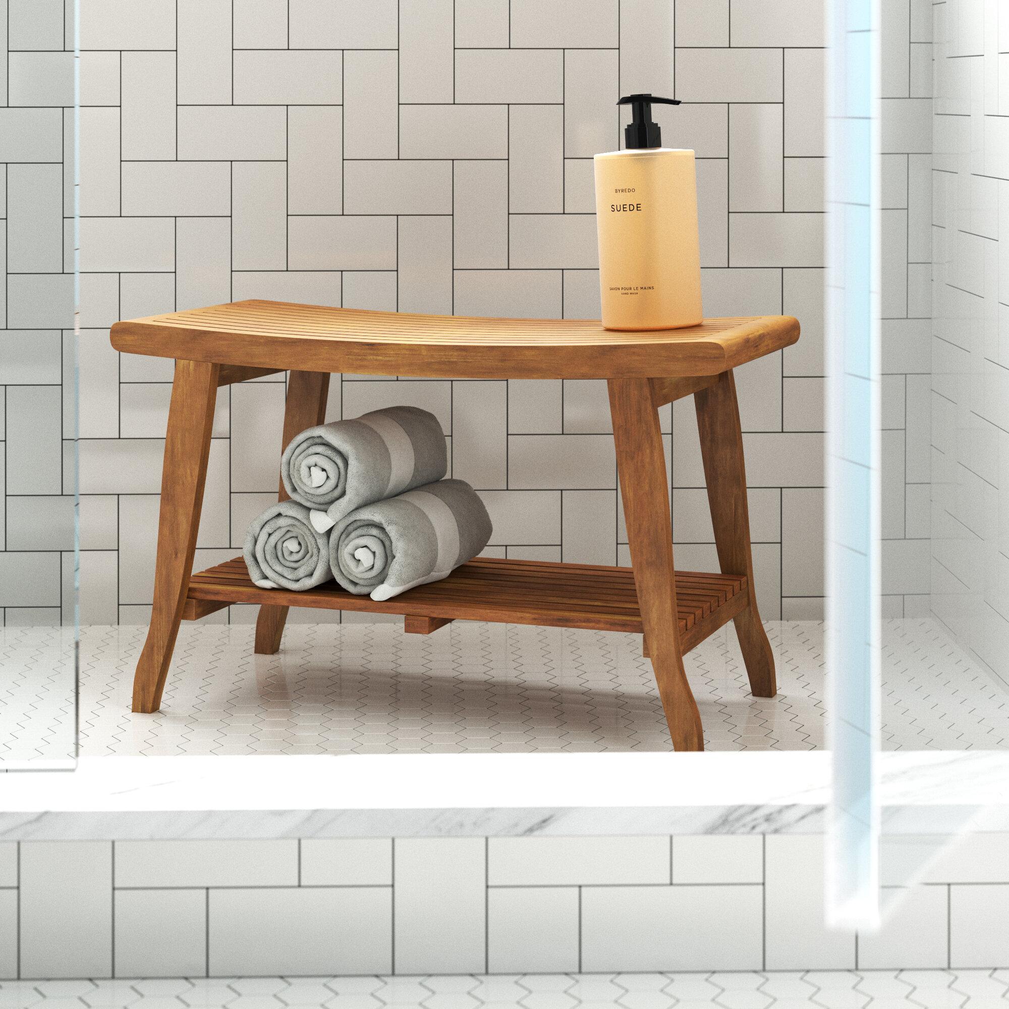 """Windcrest 7"""" W Teak Shower Bench"""