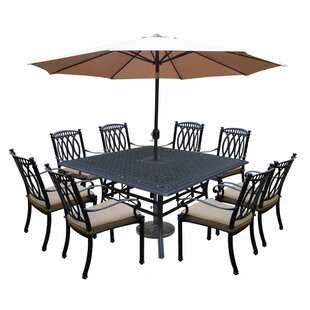 Darby Home Co Otsego 9 Piece Aluminum Patio Dining Set with Cushions and Umbrella