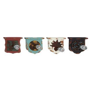 4 Piece Wood and Metal Wall Hook Set