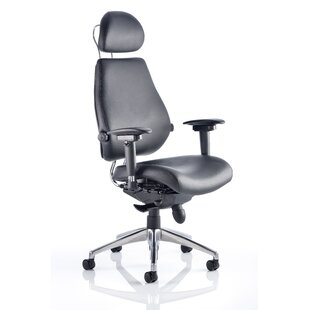 High-Back Leather Desk Chair By Ebern Designs