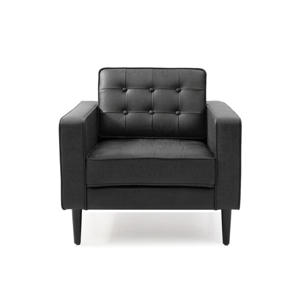 Aceves 32 W Tufted Faux Leather Armchair Allmodern