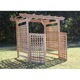 Threeman Products Oversized Lattice Cedar Wood Arbor with Gate
