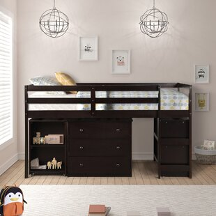 Alkire Twin Low Loft Bed with Bookcase and Drawers