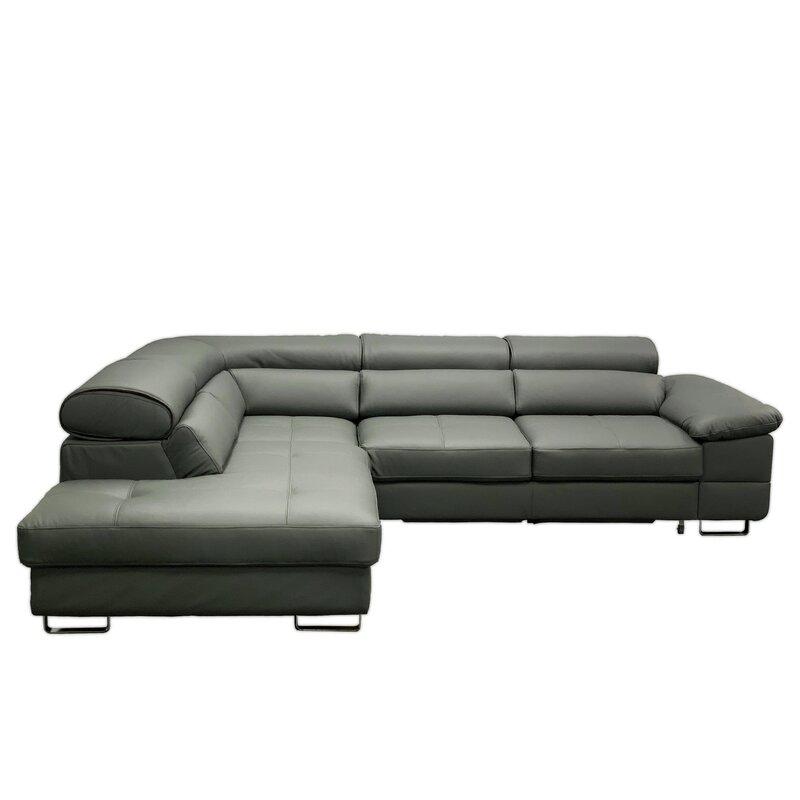 Vvrhomes 112 Wide Genuine Leather Left Hand Facing Sleeper Sofa Chaise Wayfair