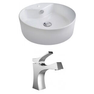 Affordable Ceramic Circular Vessel Bathroom Sink with Faucet and Overflow By Royal Purple Bath Kitchen