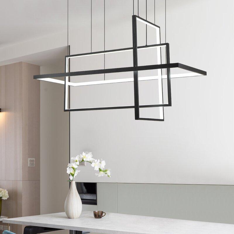 Orren Ellis Trulli 3 - Light Unique Rectangle LED Chandelier
