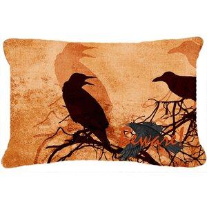 Beware of The Black Crows Halloween Indoor/Outdoor Throw Pillow