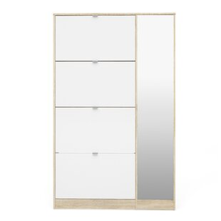 Ridgley 4 Flap Door and 1 Mirror Door 24 Pair Shoe Storage Cabinet by Rebrilliant
