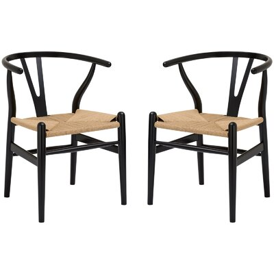 Excellent Mistana Dayanara Solid Wood Dining Chair Set Of 2 Finish Black Creativecarmelina Interior Chair Design Creativecarmelinacom