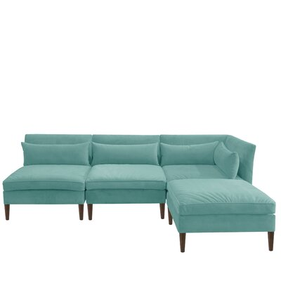 Alayna Modular Reversible Sectional with Ottoman Upholstery Color: Caribbean by Brayden Studio
