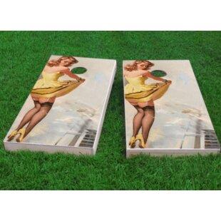 Custom Cornhole Boards Yellow Pinup Girl Cornhole Game (Set of 2)