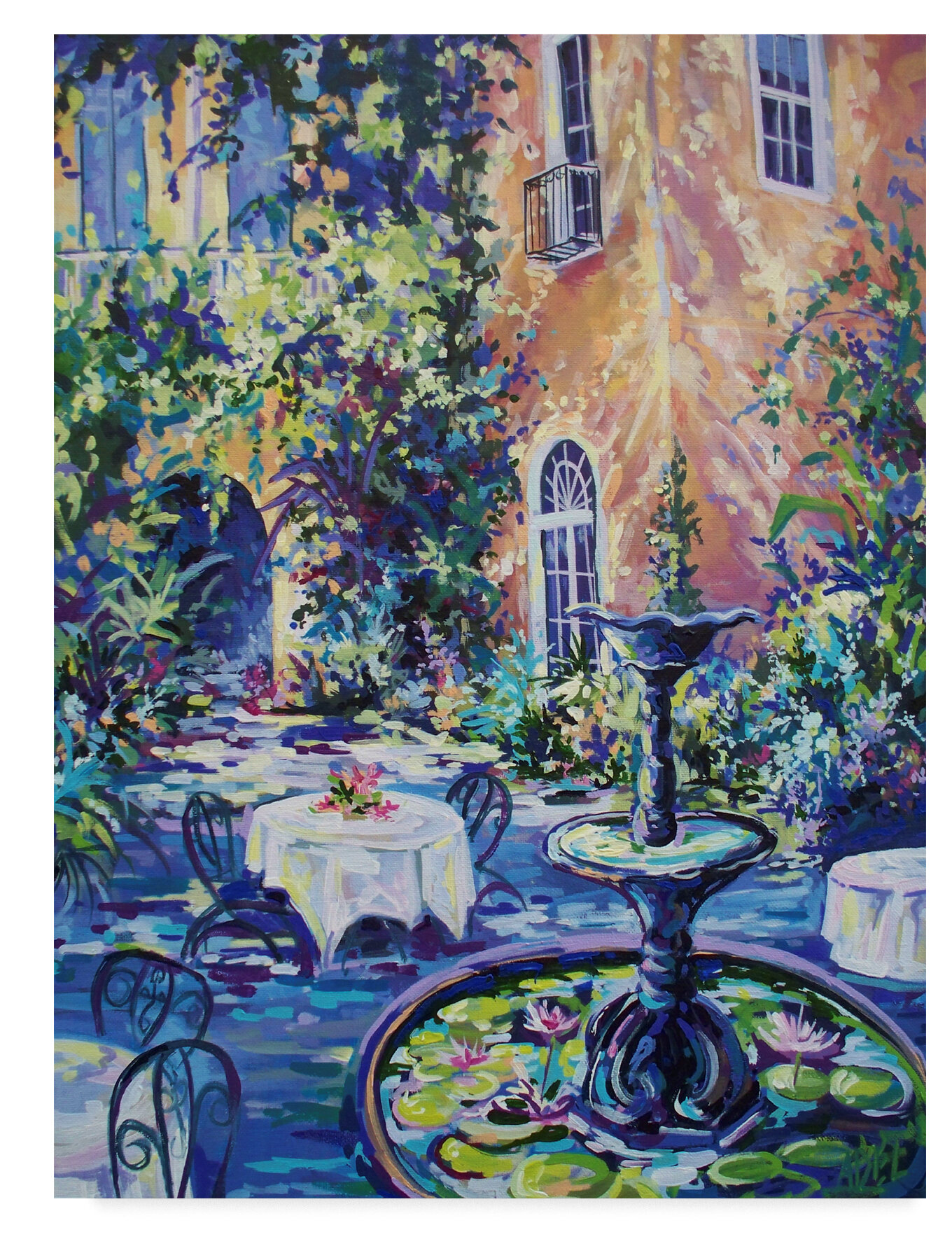 Trademark Art New Orleans Courtyard Acrylic Painting Print On Wrapped Canvas Wayfair