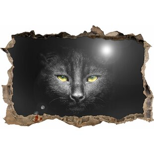 Cats Head With A Dark Background Wall Sticker By East Urban Home