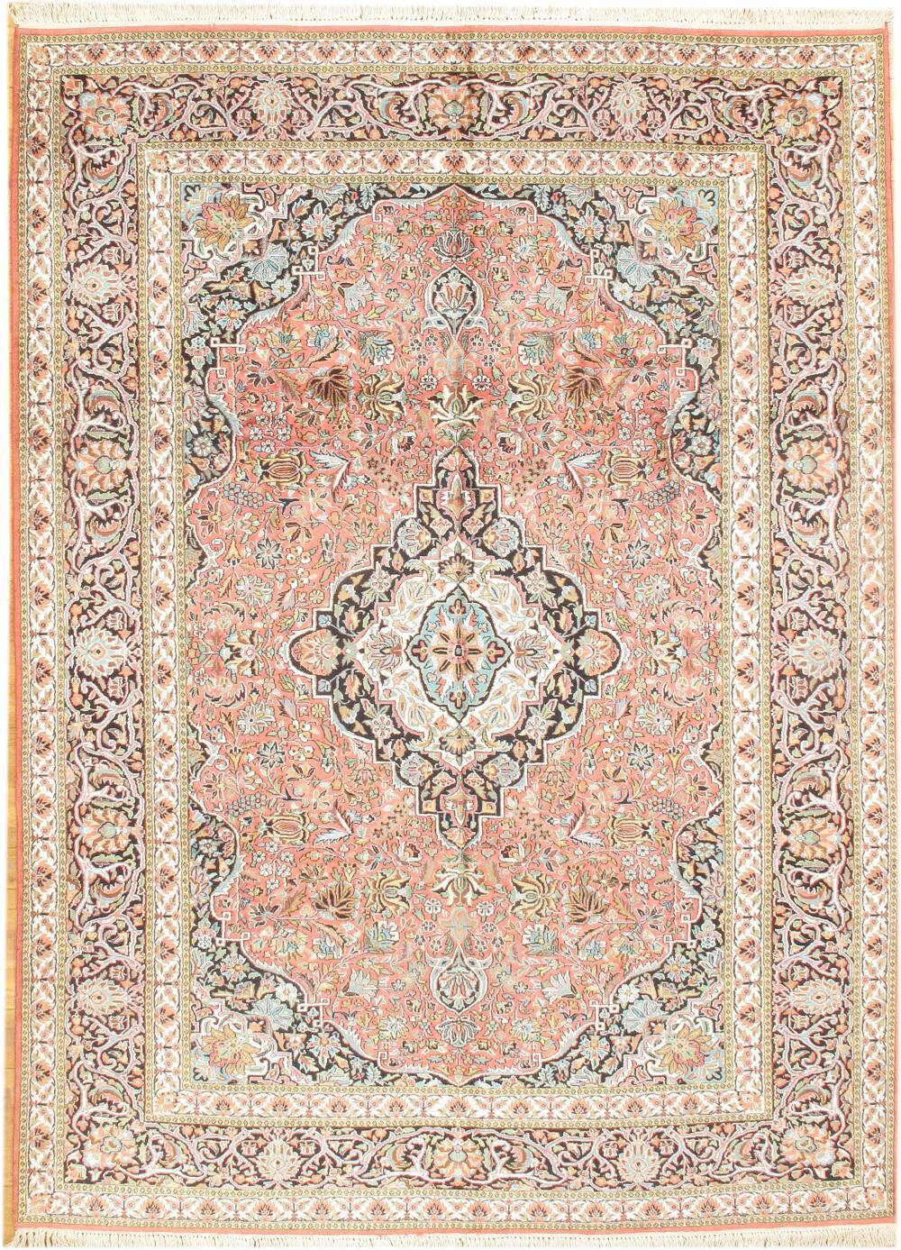 Kashmir Hand Knotted Silk Wool Rose Ivory Area Rug