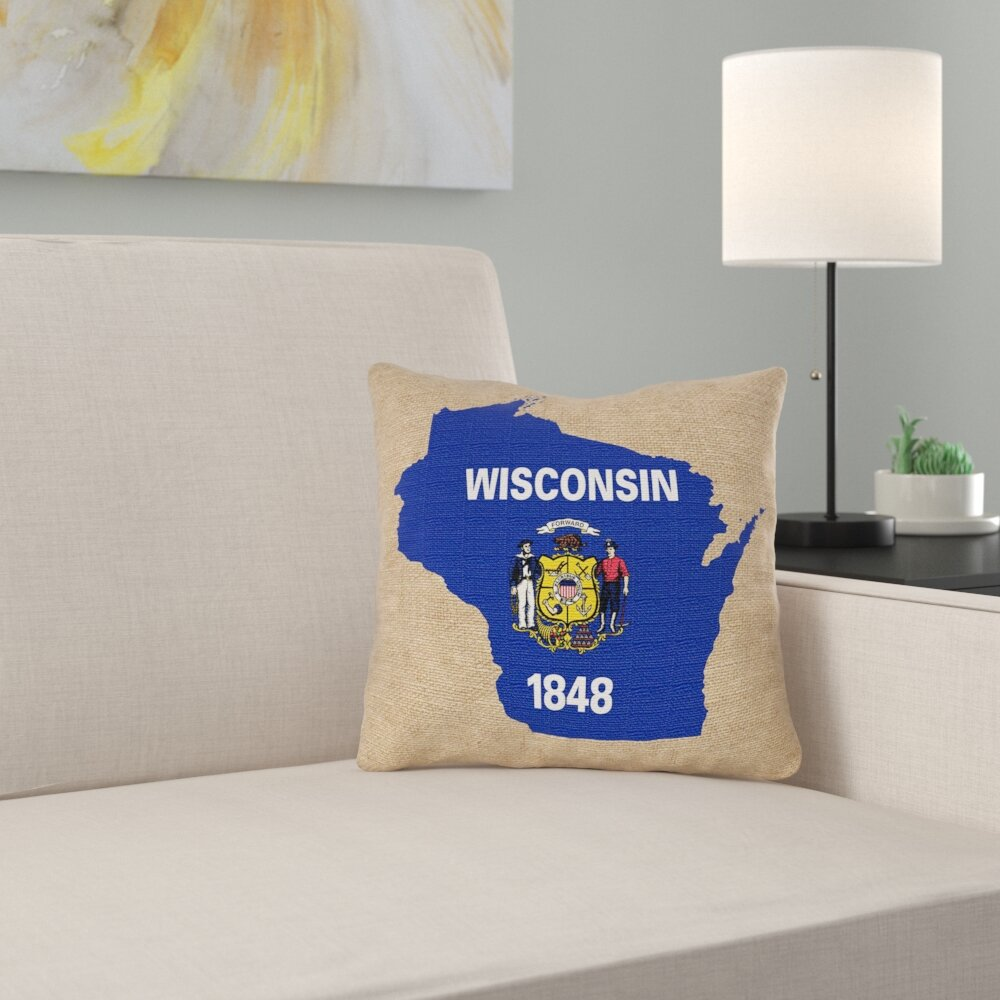 East Urban Home Wisconsin State Flag Pillow In Cotton Twill Double Sided Print Pillow Cover Wayfair