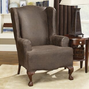 Stretch Leather T Cushion Wingback Slipcover