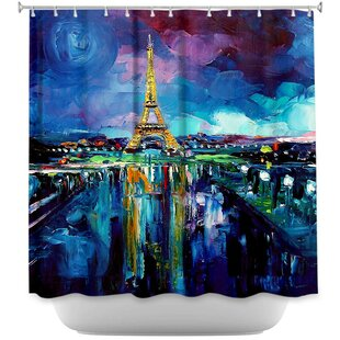 Parisian Night Eiffel Tower Single Shower Curtain