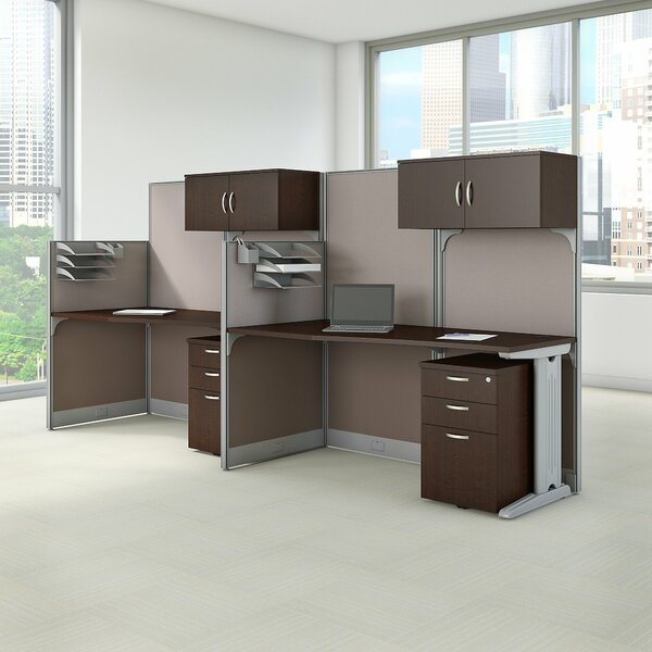 2 Person Cubicle Workstations 6 Piece Desk on