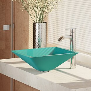René By Elkay Glass Square Vessel Bathroom Sink with Faucet
