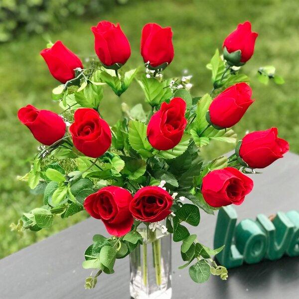 Open Head Rose Valentine/'s day gift Artificial Silk Medium Red Rose Single Stem