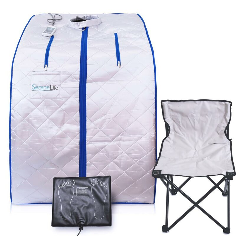 One Person Sauna with Heating Foot Pad and Portable Chair SereneLife Portable Infrared Home Spa