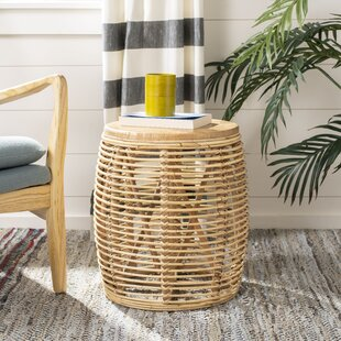 Amidon Rattan Drum End Table by Bungalow Rose