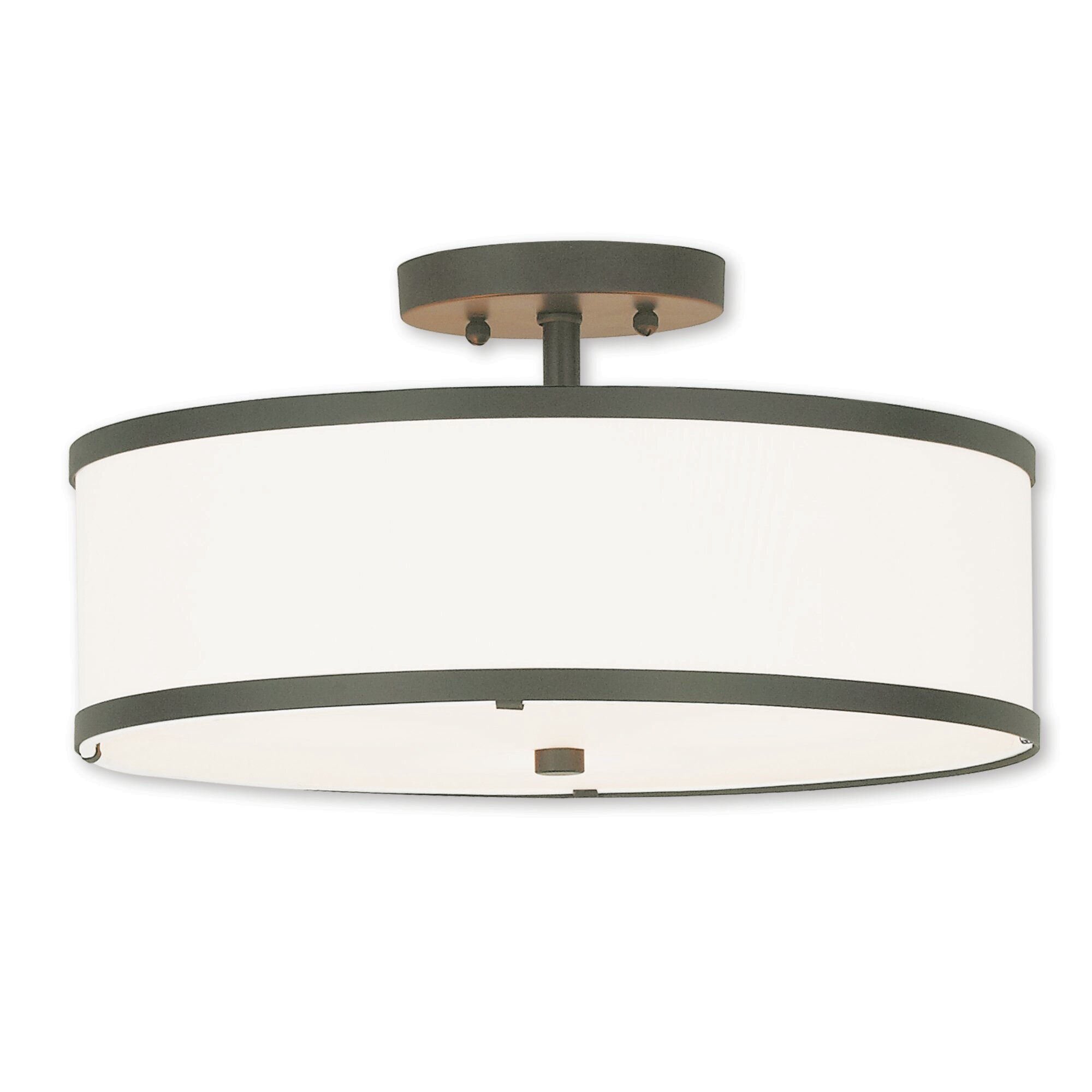 Breithaup Drum Cylinder Shade 3 Light Semi Flush Mount