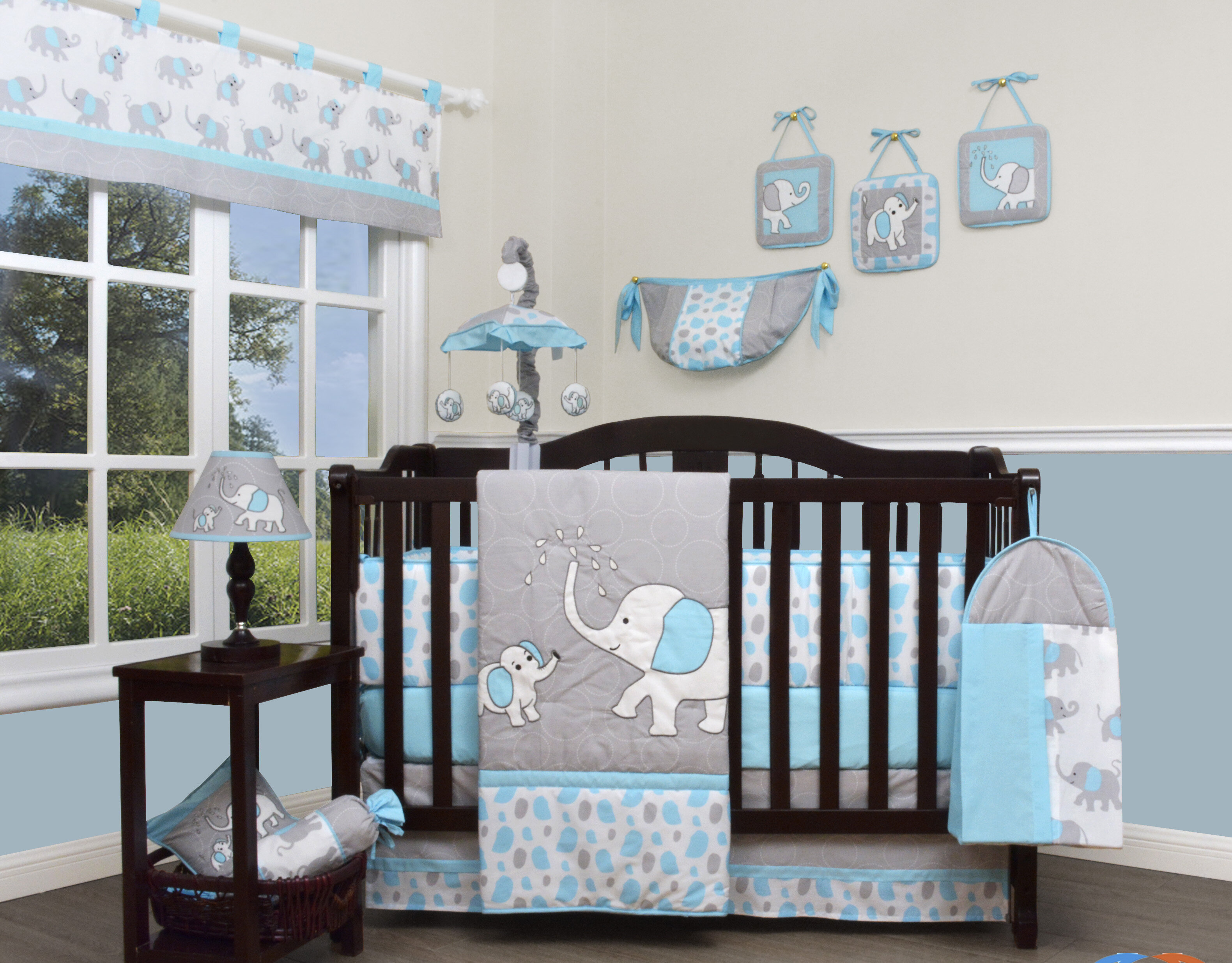 Blue And Grey Crib Bedding