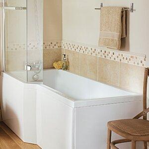 L Shape 170cm x 80cm Shower Soaking Bathtub