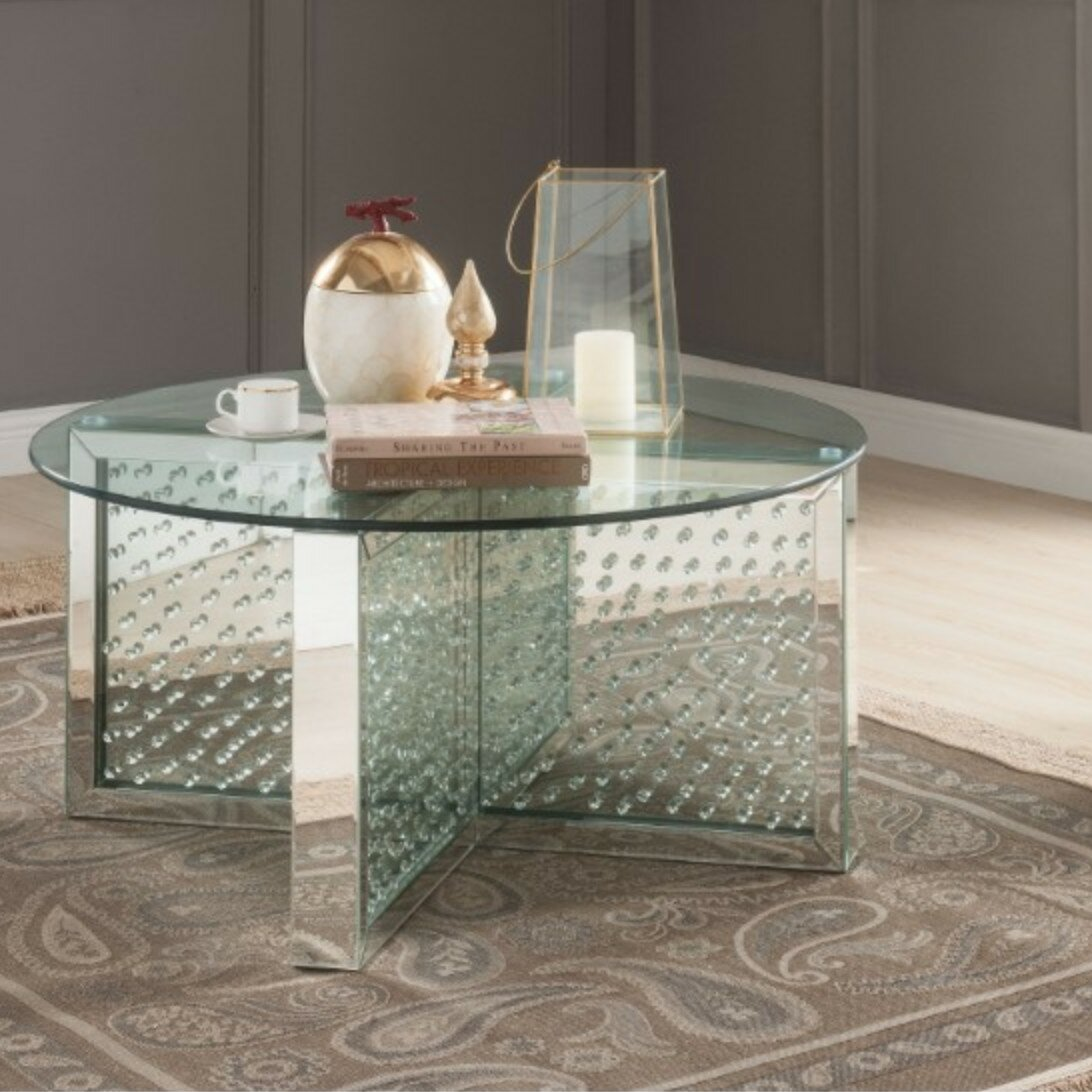 Outstanding Umana Modern Round Glass And Faux Crystal Coffee Table Bralicious Painted Fabric Chair Ideas Braliciousco