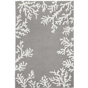 Claycomb Coral Border Hand-Tufted Silver Indoor/Outdoor Area Rug