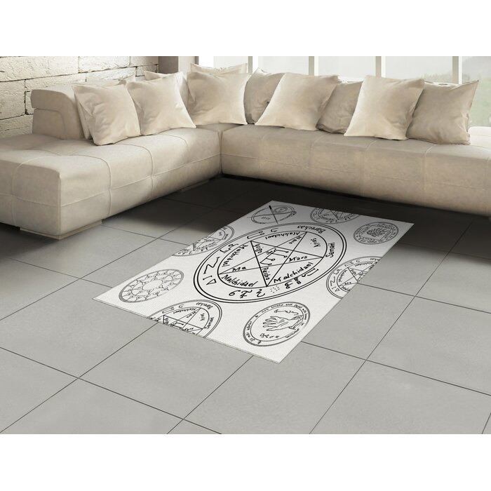 East Urban Home Pentacle Black Area Rug