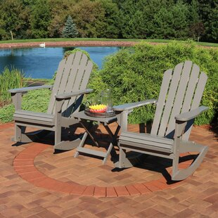 Devyn Wood Rocking Adirondack Chair with Table by Longshore Tides