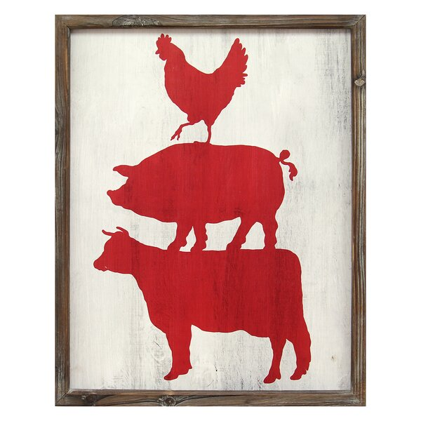 Stratton Home Decor Cow Pig And Rooster Framed Graphic